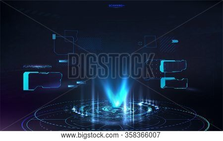 Futuristic Hologram For Presentation In Hud Style. Ui, Gui Screen Design. Vector Illustration With F
