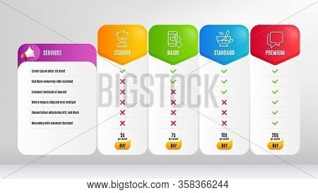 Heart Rating, Talk Bubble And Cooking Chef Line Icons Set. Pricing Table, Price List. Tea Cup Sign.
