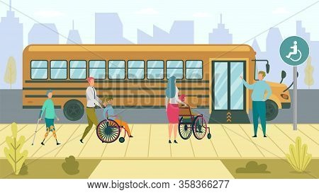 Accessible School Bus Stop For Customer With Disability. Convenient Waiting Environment. Boy With Ar
