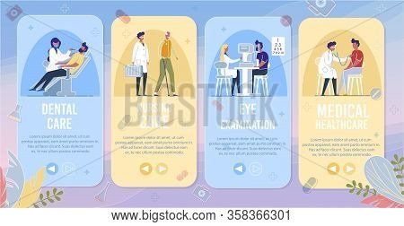 Dental Care, Nursing Care, Eye Examination, Medical Healthcare Banner Set. Doctor With Stethoscope E