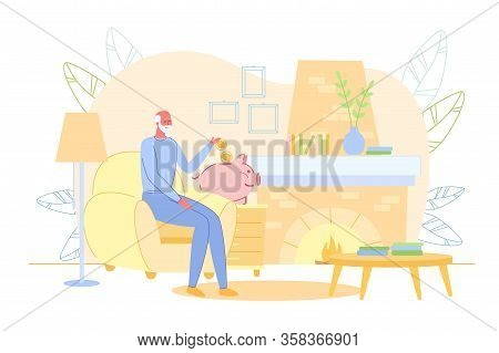 Elderly Old Man Sitting In Living Room At Home And Putting Money In Piggy-bank. Pension Fund Saving