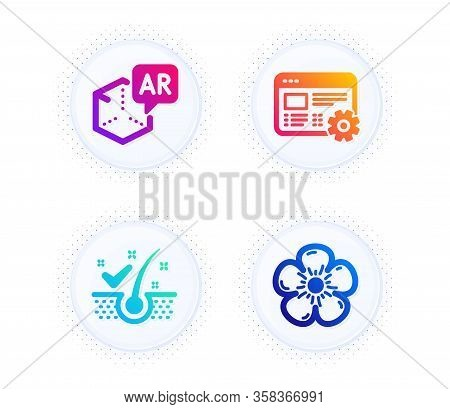 Augmented Reality, Anti-dandruff Flakes And Web Settings Icons Simple Set. Button With Halftone Dots