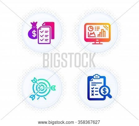 Analytics Graph, Target And Accounting Wealth Icons Simple Set. Button With Halftone Dots. Accountin