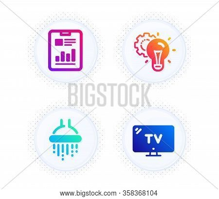 Idea Gear, Shower And Report Document Icons Simple Set. Button With Halftone Dots. Tv Sign. Technolo