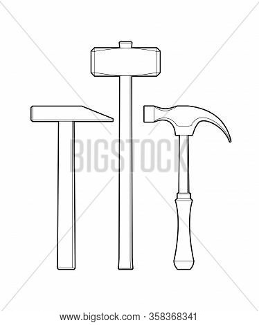 Set Of Hammers. Hand Locksmith Tool - Flat Illustration Isolated On White Background. Sledgehammer A