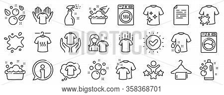 Dryer, Washing Machine And Dirt Shirt. Laundry Line Icons. Laundromat, Hand Washing, Soap Bubbles In