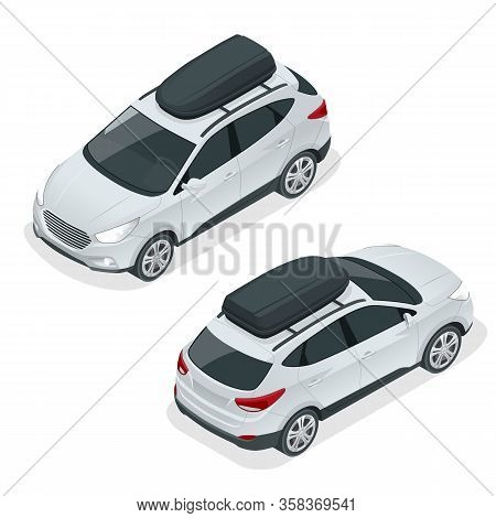 Isometric Suv Car With Rooftop Cargo Carrier. Compact Crossover, Suv, 5-door Station Wagon Car. Temp