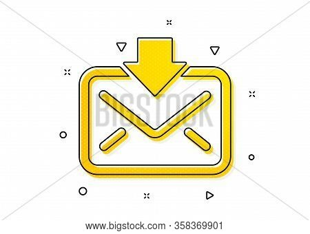 Incoming Messages Correspondence Sign. Mail Download Icon. E-mail Symbol. Yellow Circles Pattern. Cl