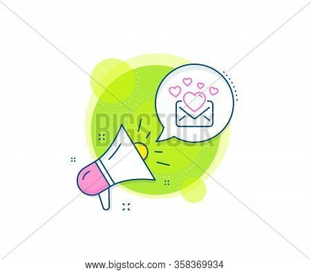 Valentines Message Correspondence Sign. Megaphone Promotion Complex Icon. Love Mail Line Icon. E-mai
