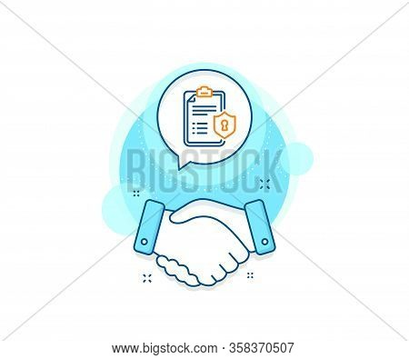 Privacy Policy Document Sign. Handshake Deal Complex Icon. Checklist Line Icon. Agreement Shaking Ha