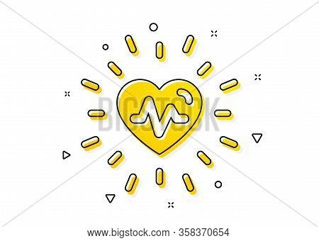 Medical Hear Beat Sign. Heartbeat Icon. Medicine Symbol. Yellow Circles Pattern. Classic Heartbeat I