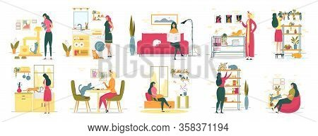 Woman Spending Time With Cat In Every Day Life. Kitten Playing With Claw Point, Girl Sitting On Sofa