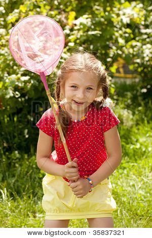 Girl Tries To Catch Butterflies