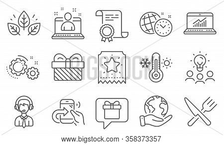Set Of Business Icons, Such As Organic Tested, Share Call. Diploma, Ideas, Save Planet. Loyalty Tick