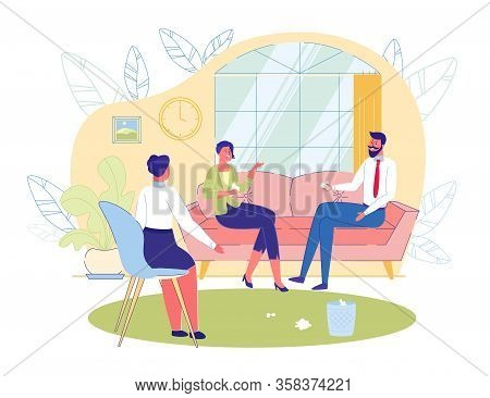Couple Psychotherapy Session Scene With Married Partners Conflicting. Family Problems, Abusing And F