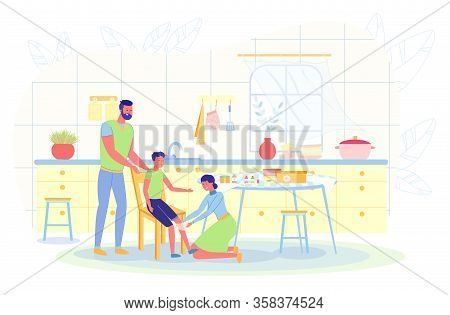 In Kitchen On Chair Sits Boy In Shorts. He Has Wounded Knee. On Table Is First Aid Kit, Alcohol And