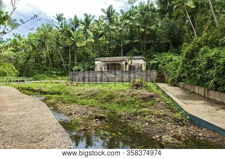 Abandoned Bath House On Bano De Oro Trail In El Yunque National Forest Of Puerto Rico