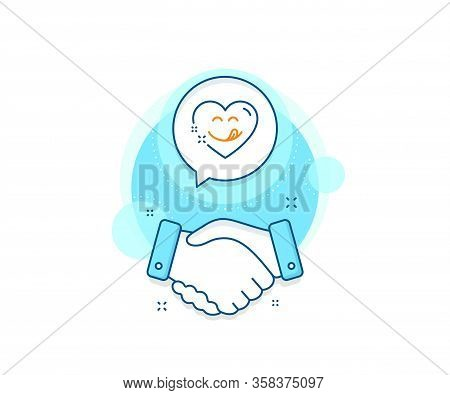 Emoticon With Tongue Sign. Handshake Deal Complex Icon. Yummy Smile Line Icon. Comic Heart Symbol. A