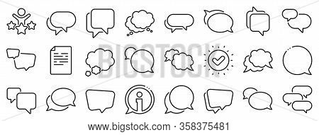 Social Media Message, Comic Bubbles And Chat. Speech Bubbles Line Icons. Think Sticker, Comment Spee