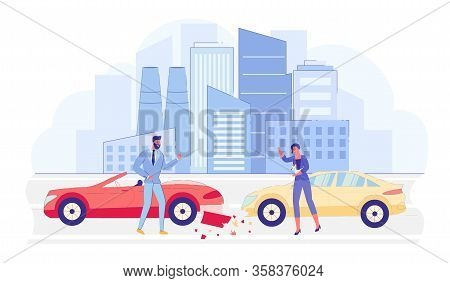 Car Crash Or Accident On City Road Flat Cartoon Vector Illustration. Vehicles With Big Damage. Angry