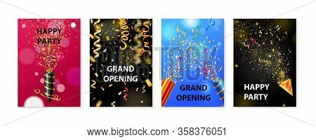 Four Colorful Party Posters Realistic Set With Poppers And Serpentine Isolated Vector Illustration
