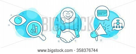 Smile Chat, Chemistry Lab And Restructuring Line Icons Set. Handshake Deal, Research And Promotion C