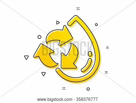 Recycle Clean Aqua Sign. Water Drop Icon. Refill Liquid Symbol. Yellow Circles Pattern. Classic Recy