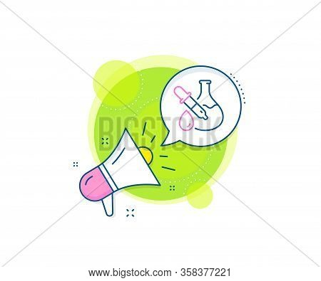 Laboratory Flask Sign. Megaphone Promotion Complex Icon. Chemistry Experiment Line Icon. Analysis Pi