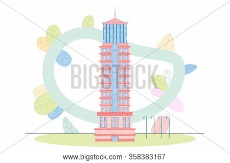 Contemporary Skyscraper Tower Architecture Building. Flat Office City Apartment, House Residential B