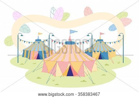 Entertainment And Amusement Park With Travel Circus Or Fairground Classic Striped Tents. Carnival An