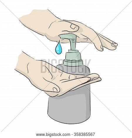 Close-up Hand With Sanitizer Gel Pump Dispenser To Protect Covid-19 Virus Vector Illustration Sketch