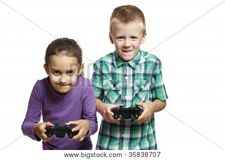 Boy And Girl Playing Games Console