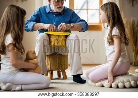 Cute Magic Trick At Home From Grandpa Stock Photo