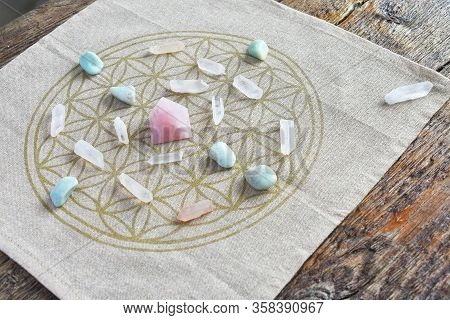 A Close Up Image Of A Crystal Self Love Energy Healing Grid.