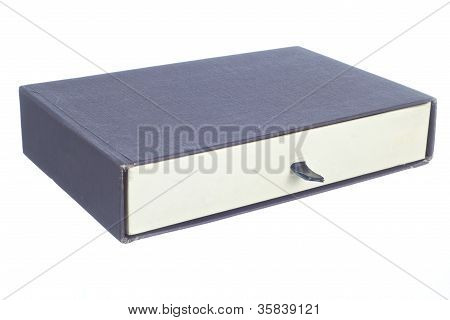 blue and white old paper box isolated on a white background