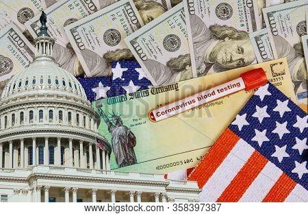 Senate Stimulus Deal Includes Individual Checks Virus Economic Stimulus Plan Usa Dollar Cash Banknot