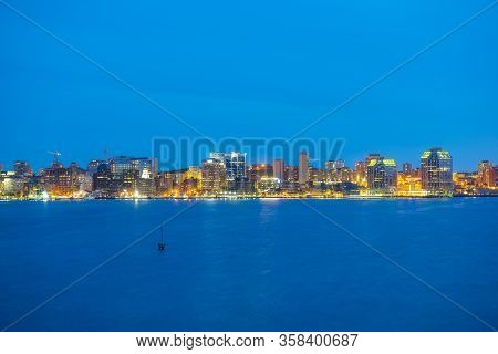 Halifax City Skyline At Night From Dartmouth Waterfront, Nova Scotia Ns, Canada.