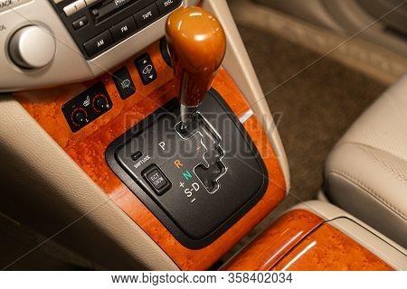 Novosibirsk, Russia - February 15, 2020  Lexus Rx350, Gear Shift. Automatic Transmission Gear Of Car