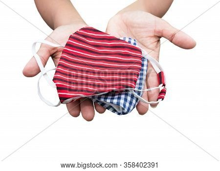 Mask Fabric Striped Red. Prophylaxis Virus Homemade Pile On Hand Over White Background. Prevent Coro
