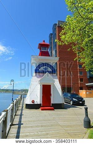 Saint John, Nb, Canada - May 20, 2016: Saint John Market Square Lighthouse In Saint John Harbour, Sa