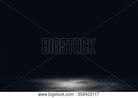 Abstract Image Of Studio Dark Room Concrete Floor Texture Background.