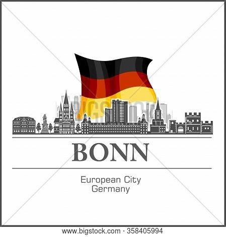 Bonn City Skyline Black And White Silhouette. Vector Illustration.