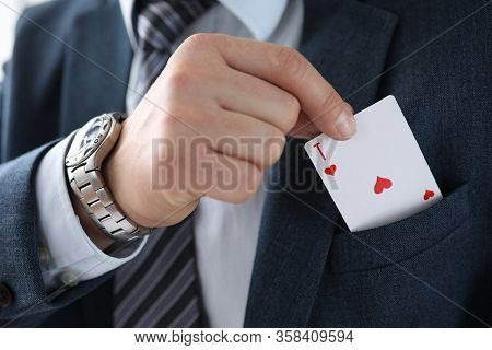 Man Suit Takes An Ace Card From His Jacket Pocket. One-sided Advantage And Benefit. Technique Or Man