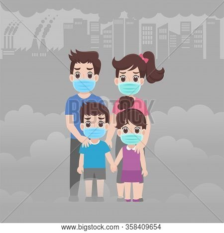 Family Wearing Protective A Surgical Mask For Prevent Virus Wuhan Covid-19.corona Virus, Dust, Pm 2.