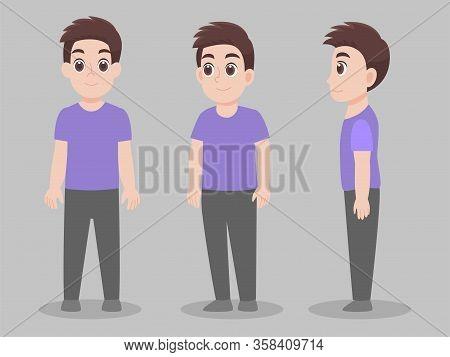 Set Of Character Man Cartoon Concept Character