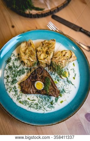 Beef Brisket, Dill Sauce, Quail Eggs And Dumplig