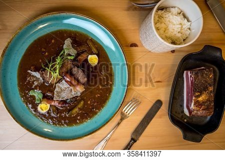 Beef Brisket With Bacon And Quail Eggs