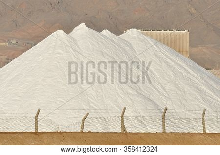 Heap Of Salt On Settling Tanks At The Eilat Factory. Israel And The Production Of Salt, A Valuable M