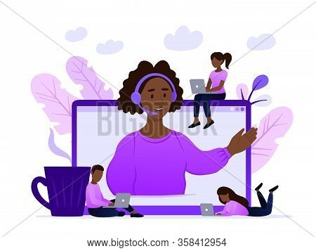 Concept Customer And Operator, Online Technical Support 24-7 For Web Page. Vector Illustration Afric