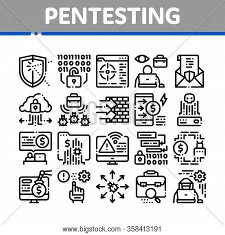 Pentesting Software Collection Icons Set Vector. Pentesting Programming Code, Cybersecurity Shield,